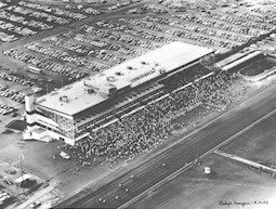 Centennial Race Track 1972. Arial view of crowded stands during a race