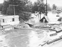 Mobile home park near Bowles and Sante Fe, during the 1965 flood
