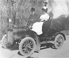 Dr. and Mrs. Crysler in their first automobile 1909