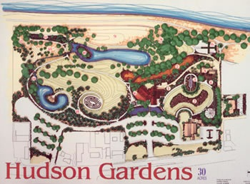 Map Hudson Gardens Hand Drawn