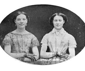 Mollie Dorsey Sanford, left, and her sister Nan 1857