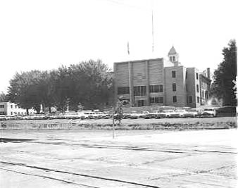 Arapahoe County Courthouse 1950s View from across railroad tracks