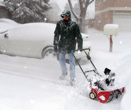 snow blower in a blizzard