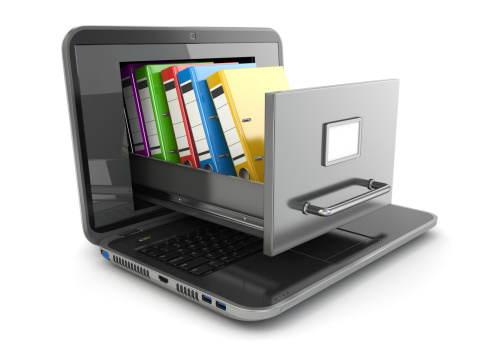 Illustration featuring a laptop computer with a file cabinet coming out of the screen