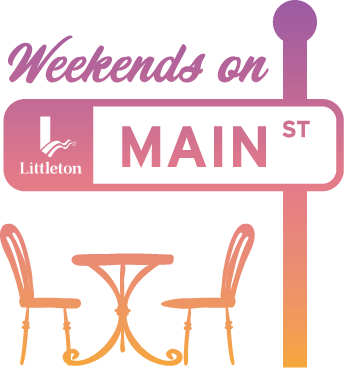 Graphic image of Weekends on Main logo: Main Street sign with small cafe table under it