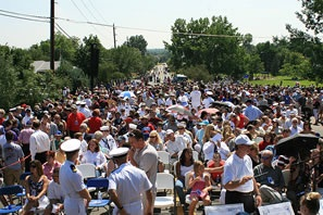 Crowd at the memorial dedication
