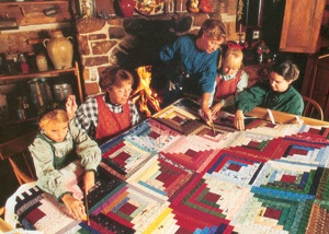 Quilting in the 1860s log cabin