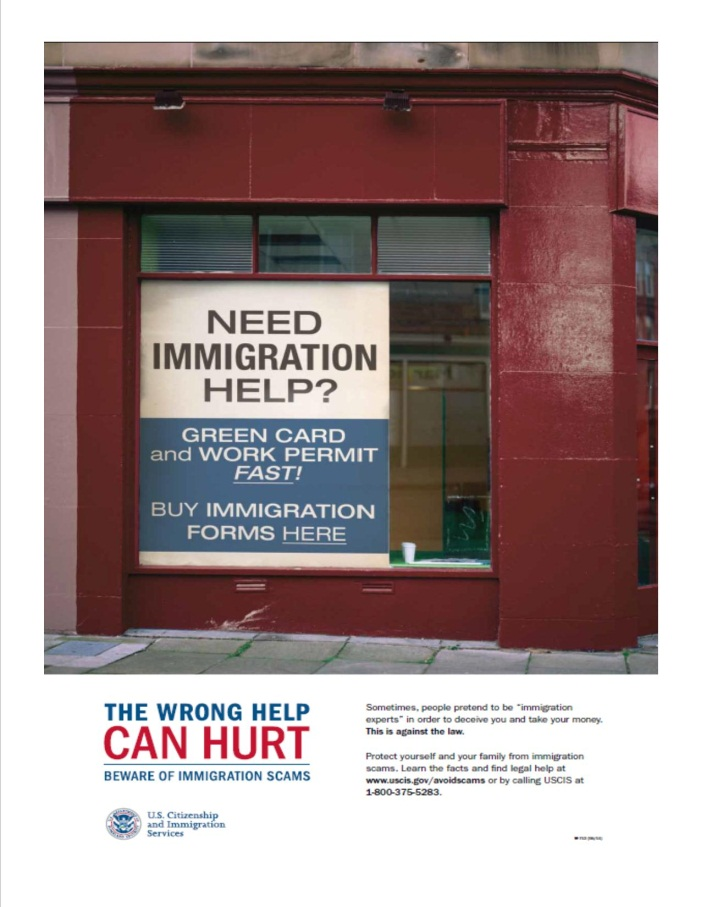Example of False immigration help ad