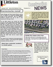 Bemis Street Reconstruction Newsletter cover