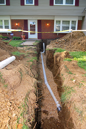 Sewer line replacement at a home